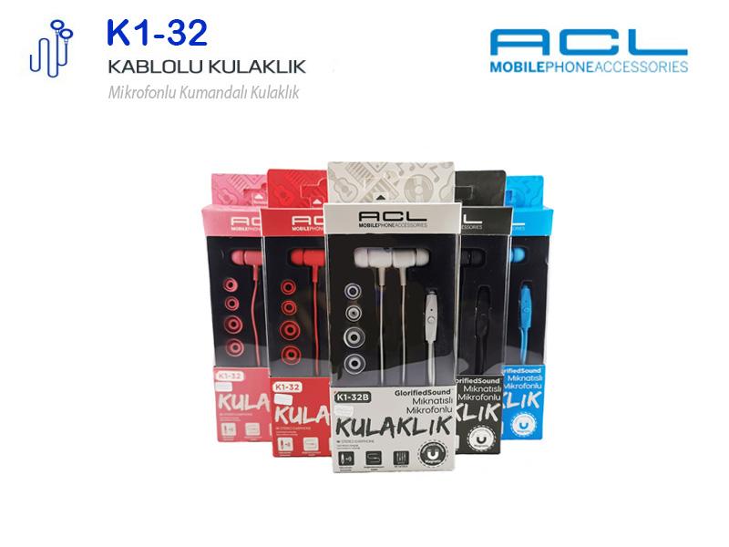ACL K132 Mıknatıslı Mikrofonlu Kablolu Kulak İçi Kulaklık 3.5mm Jack K132