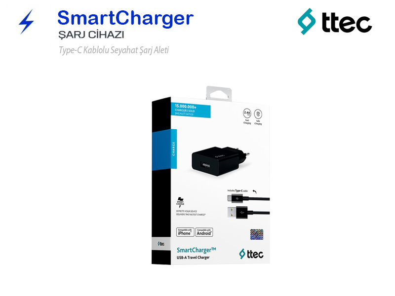 TTEC SmartCharger Type-C Hızlı Şarj Aleti-Cihazı SİYAH 2SCS20CS