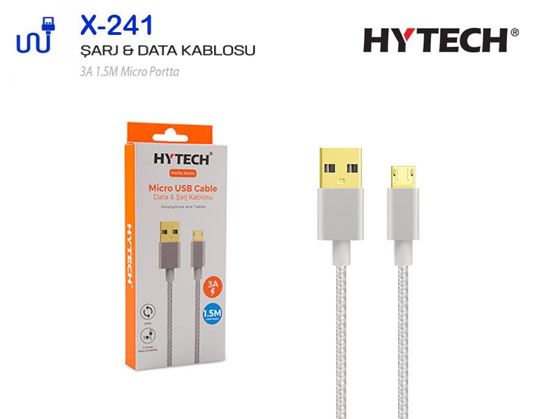 HYTECH Micro Şarj Kablosu Android Samsung PORTTA Gri 3A X241G